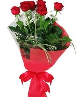 5 adet kırmızı gülden buket  Denizli çiçekçiler