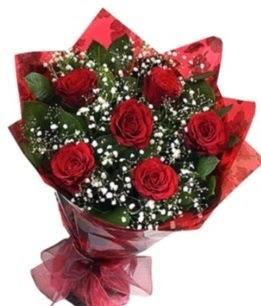 6 adet kırmızı gülden buket  Denizli çiçek siparişi vermek