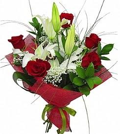 1 dal kazablanka 5 kırmızı gül buketi  Denizli çiçekçiler