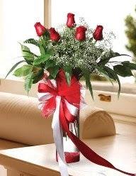 Camda 5 kırmızı gül tanzimi  Denizli hediye sevgilime hediye çiçek