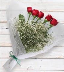 5 kırmızı gülden sade buket  Denizli 14 şubat sevgililer günü çiçek
