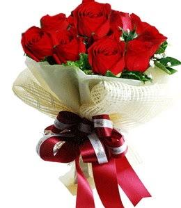 9 adet kırmızı gülden buket tanzimi  Denizli uluslararası çiçek gönderme