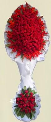 Çift katlı kıpkırmızı düğün açılış çiçeği  Denizli ucuz çiçek gönder