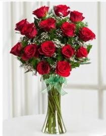 Cam vazo içerisinde 11 kırmızı gül vazosu  Denizli ucuz çiçek gönder