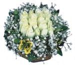 Denizli çiçek yolla , çiçek gönder , çiçekçi   Beyaz harika bir gül sepeti