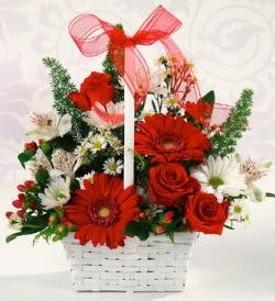 Karışık rengarenk mevsim çiçek sepeti  Denizli İnternetten çiçek siparişi