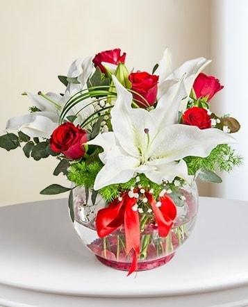 Fanus Vazoda 2 Lilyum ve 5 Gül Dansı  Denizli anneler günü çiçek yolla