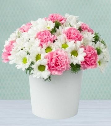 Seramik vazoda papatya ve kır çiçekleri  Denizli yurtiçi ve yurtdışı çiçek siparişi