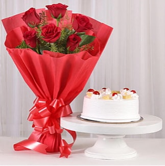 6 Kırmızı gül ve 4 kişilik yaş pasta  Denizli çiçek servisi , çiçekçi adresleri