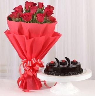 10 Adet kırmızı gül ve 4 kişilik yaş pasta  Denizli online çiçekçi , çiçek siparişi