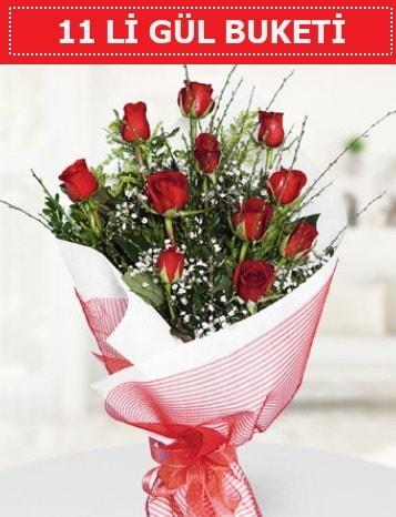 11 adet kırmızı gül buketi Aşk budur  Denizli uluslararası çiçek gönderme