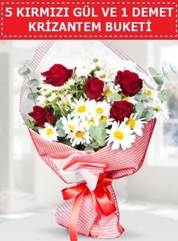 5 adet kırmızı gül ve krizantem buketi  Denizli çiçek online çiçek siparişi
