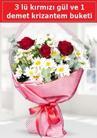3 adet kırmızı gül ve krizantem buketi  Denizli uluslararası çiçek gönderme