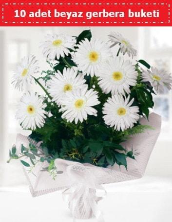 10 Adet beyaz gerbera buketi  Denizli çiçek servisi , çiçekçi adresleri