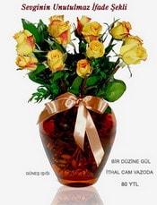 Denizli online çiçekçi , çiçek siparişi  mika yada Cam vazoda 12 adet sari gül